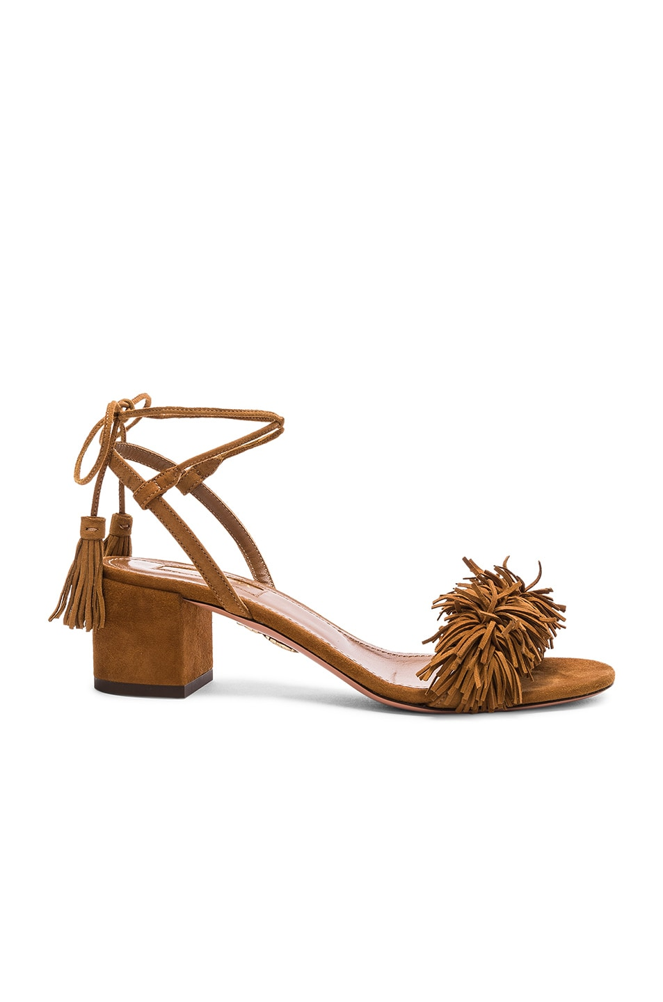 Image 1 of Aquazzura Suede Wild Thing Sandals in Cognac