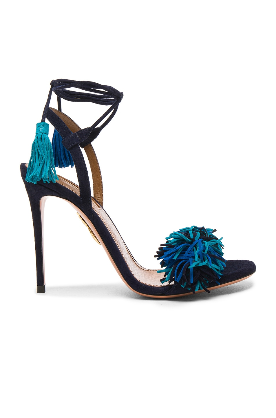 Image 1 of Aquazzura Suede Wild Thing Heels in Multi Blue