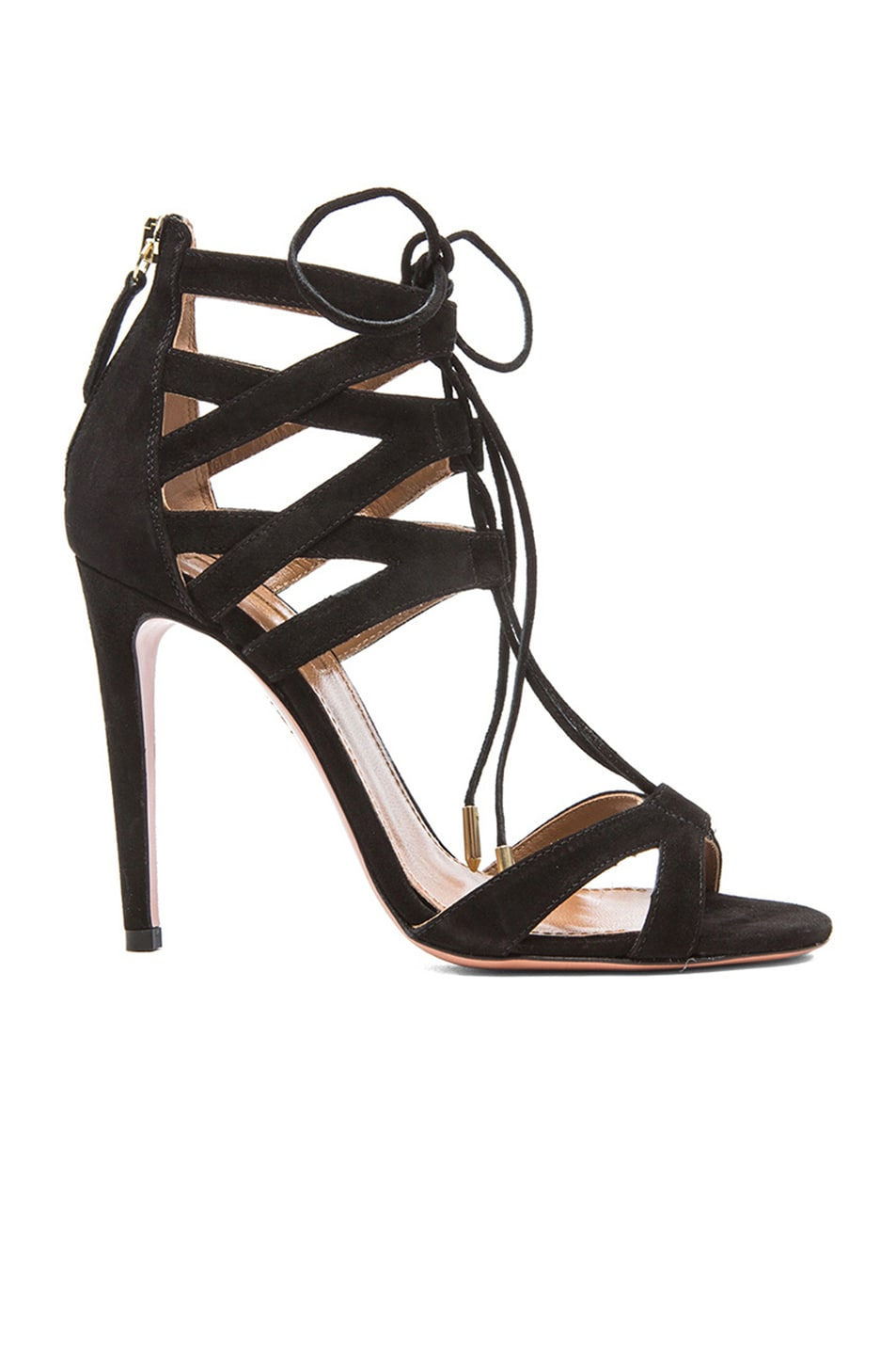 Image 1 of Aquazzura Beverly Hills Suede Sandals in Black