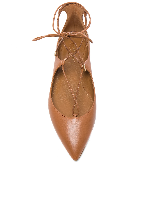 Image 4 of Aquazzura Leather Christy Flats in Whiskey