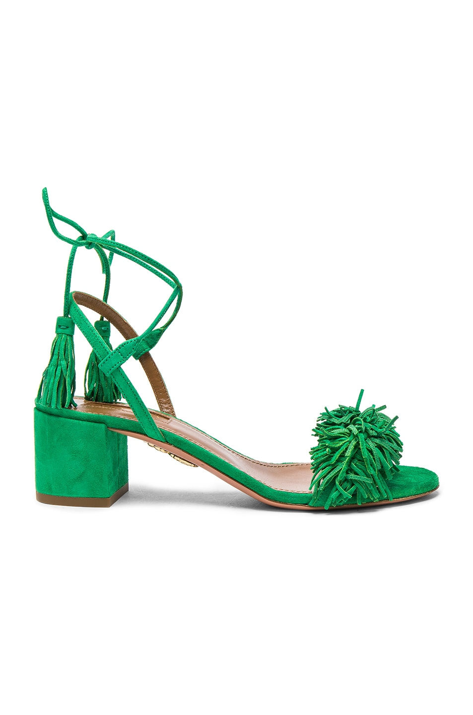 Image 1 of Aquazzura Suede Wild Thing Heels in Jungle Green