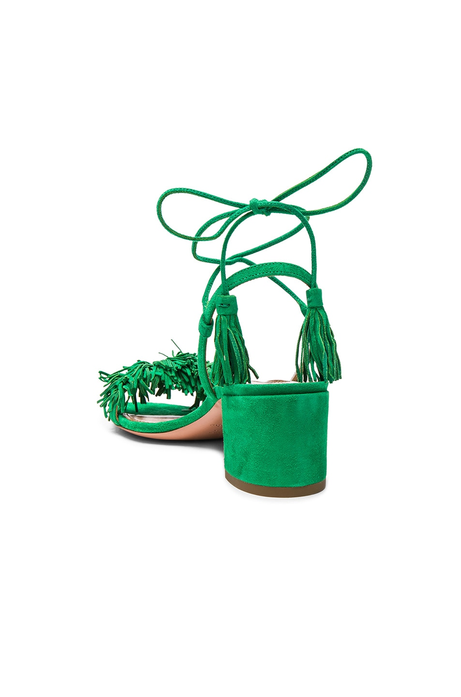 Image 3 of Aquazzura Suede Wild Thing Heels in Jungle Green