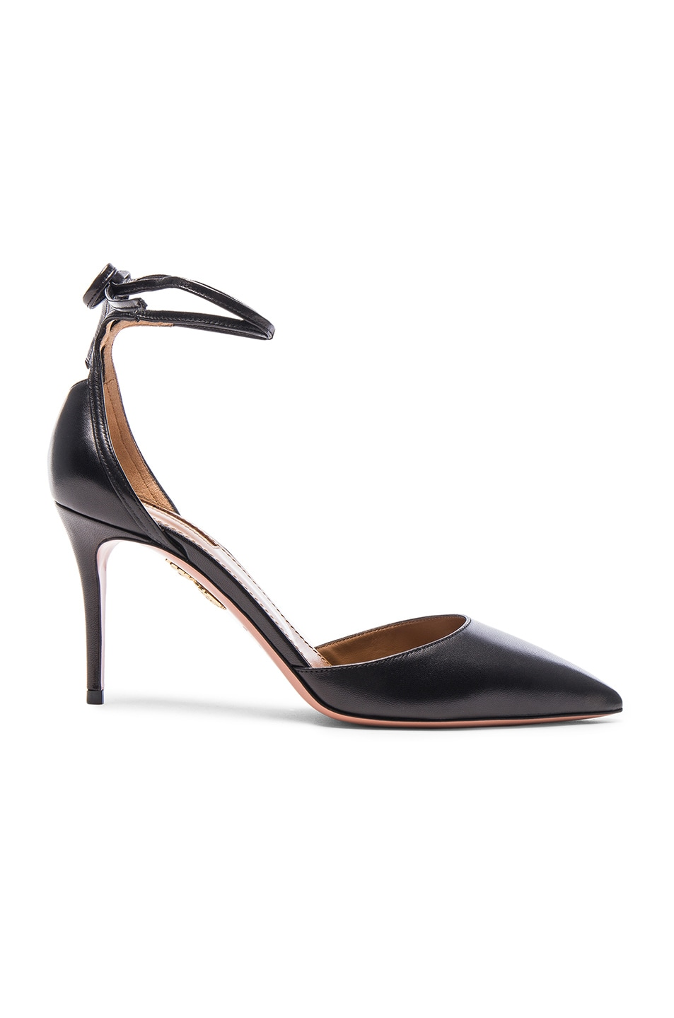 Image 1 of Aquazzura Leather Heart Breaker Heels in Black