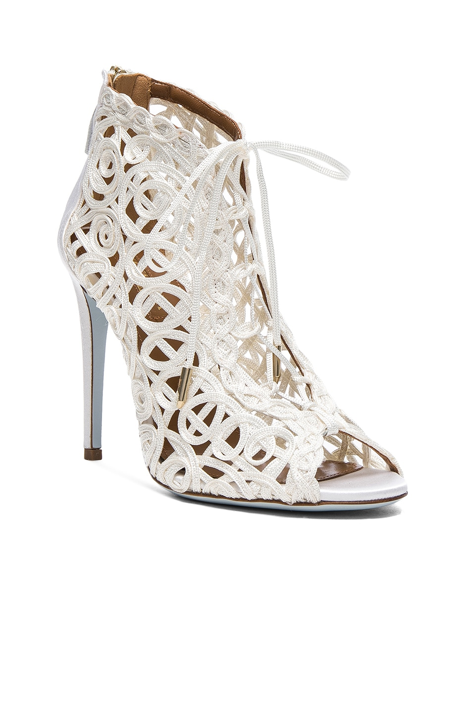 Image 2 of Aquazzura Satin Lattice Kya Bridal Booties in White