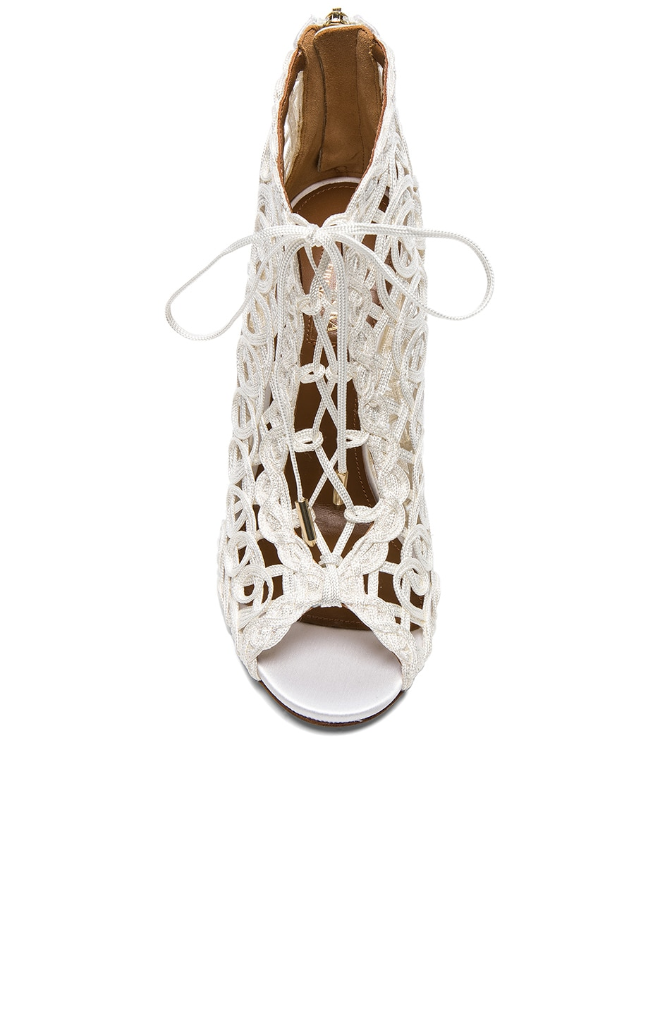Image 4 of Aquazzura Satin Lattice Kya Bridal Booties in White
