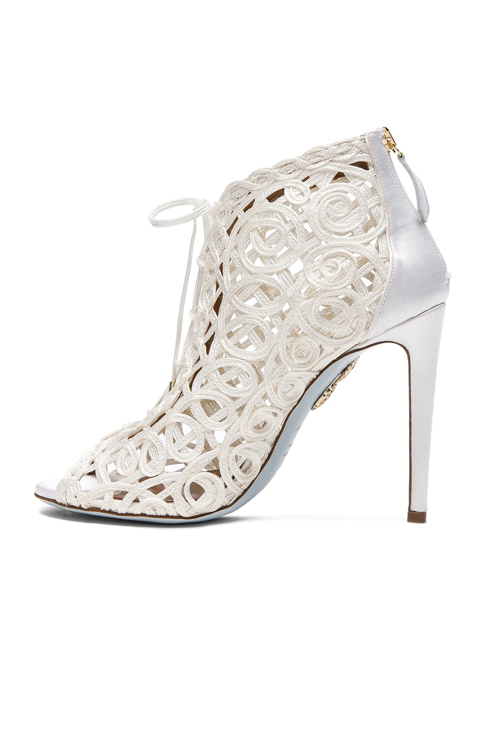 Image 5 of Aquazzura Satin Lattice Kya Bridal Booties in White