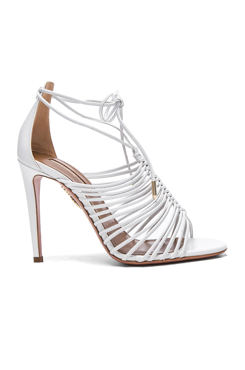 Image 1 of Aquazzura Leather Nadja Heels in White