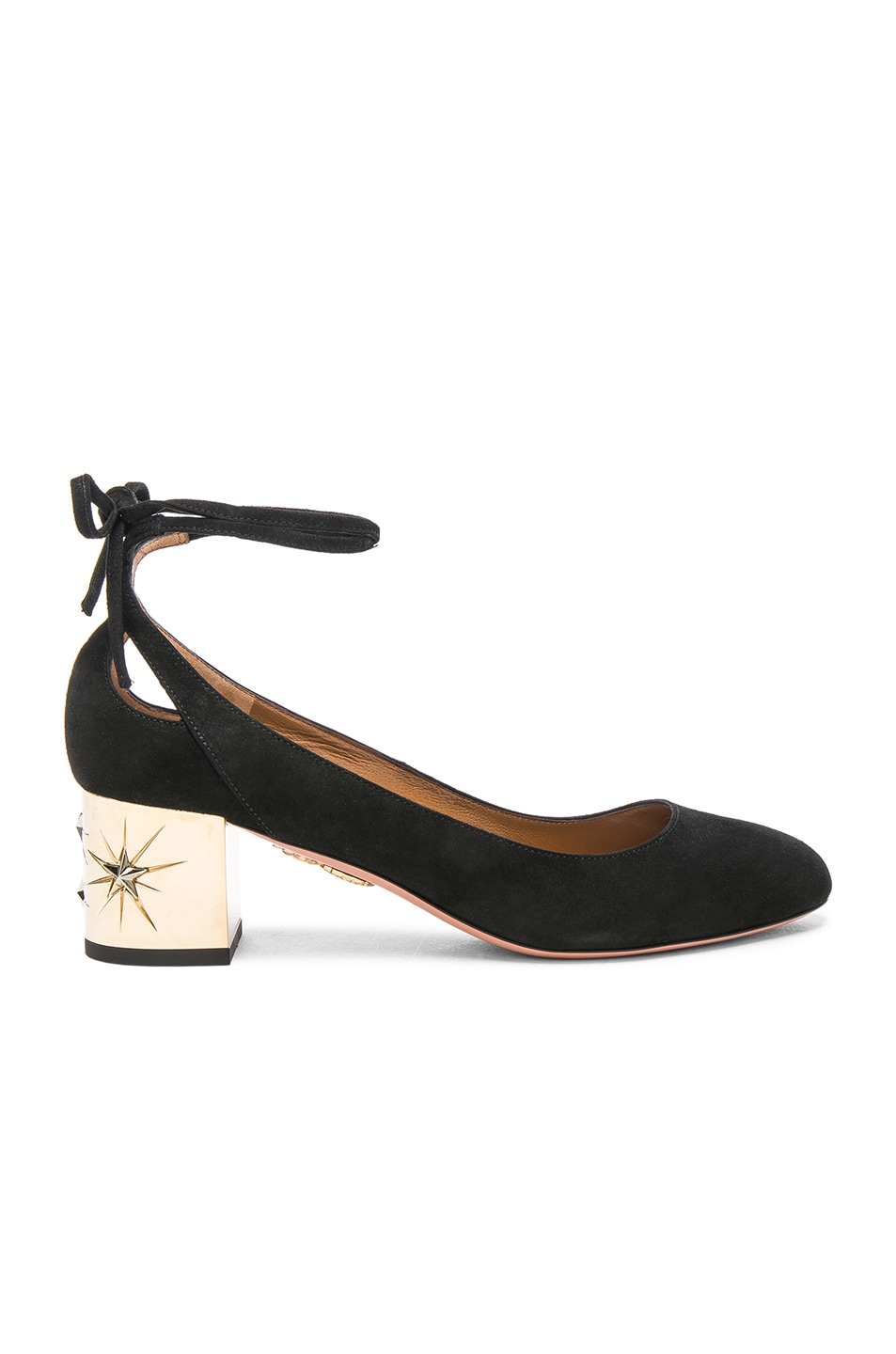 Image 1 of Aquazzura Suede Trinity Star Heels in Black