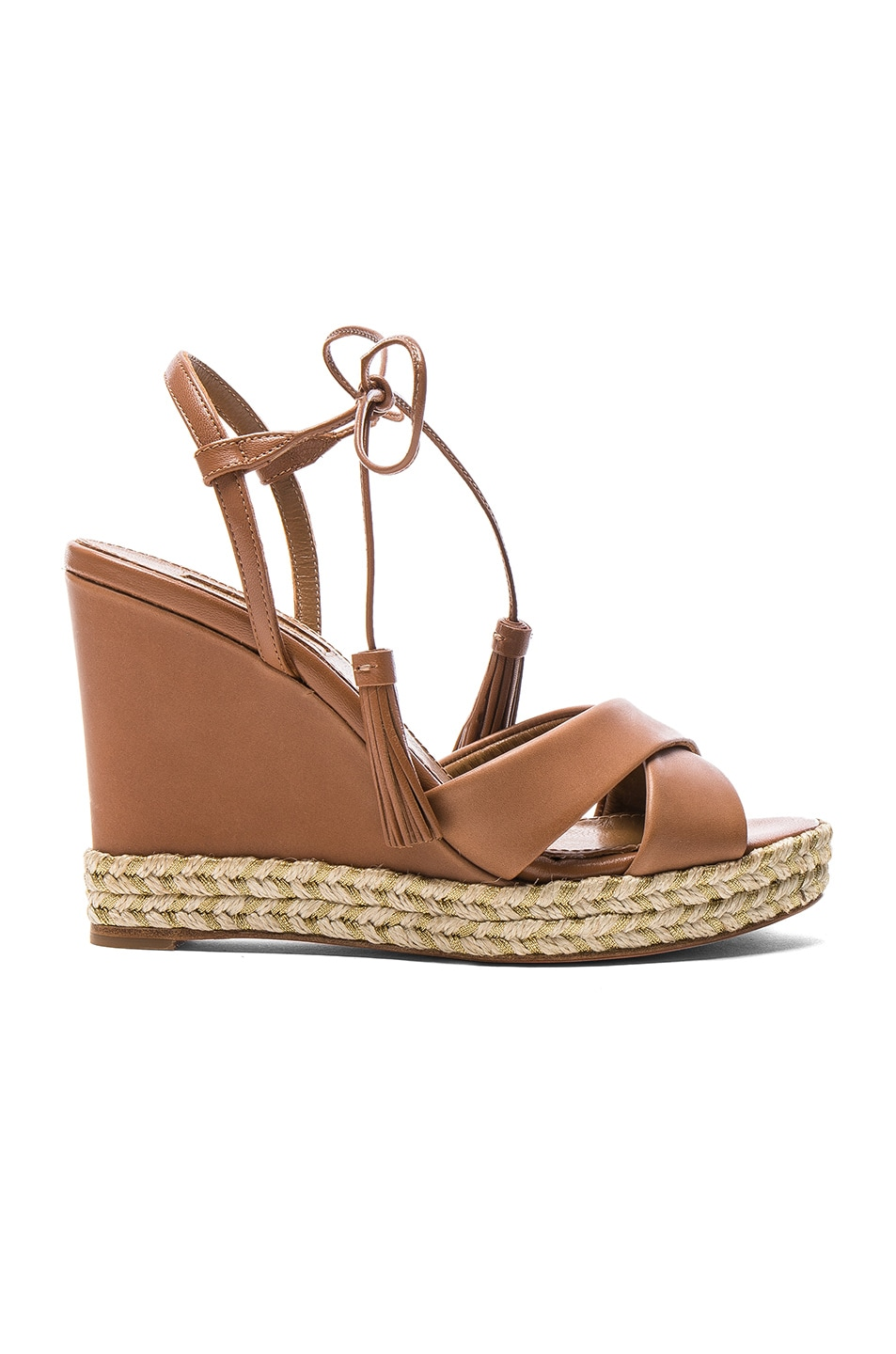 Image 1 of Aquazzura Leather Paraty Espadrille Wedges in Whiskey