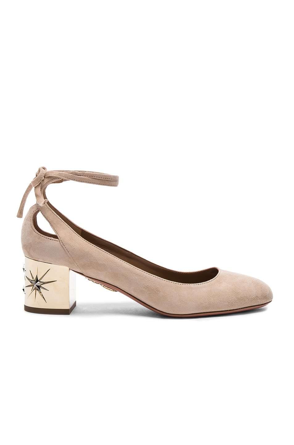 Image 1 of Aquazzura Suede Trinity Star Heels in Nude