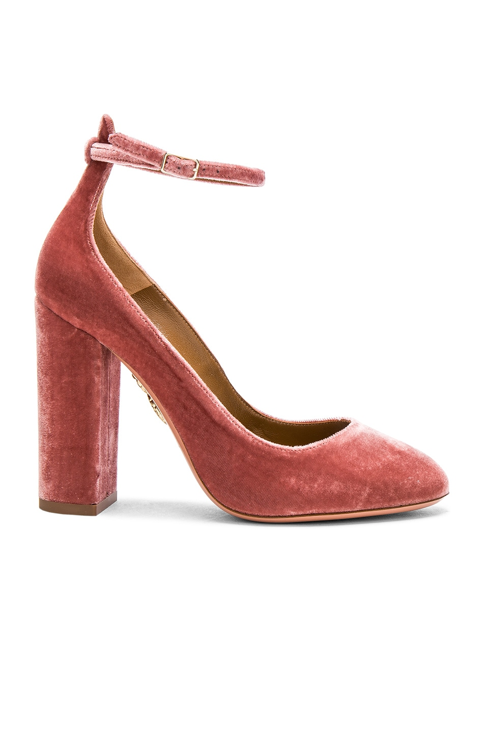 Image 1 of Aquazzura Velvet Alix Pumps in Antique Rose