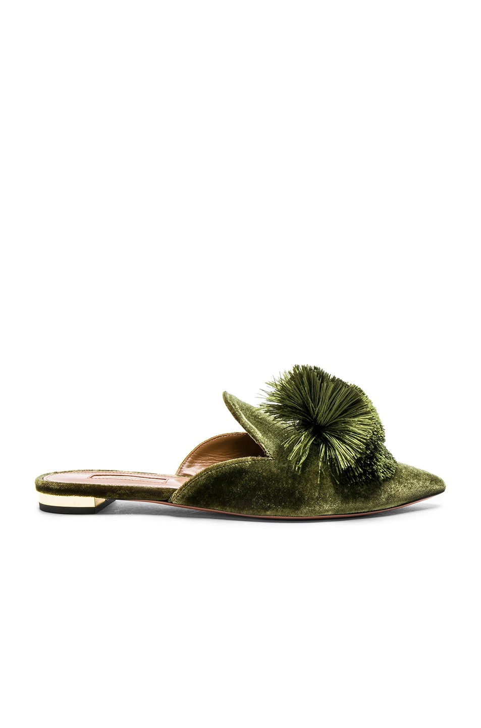 Image 1 of Aquazzura Velvet Powder Puff Flats in Moss Green