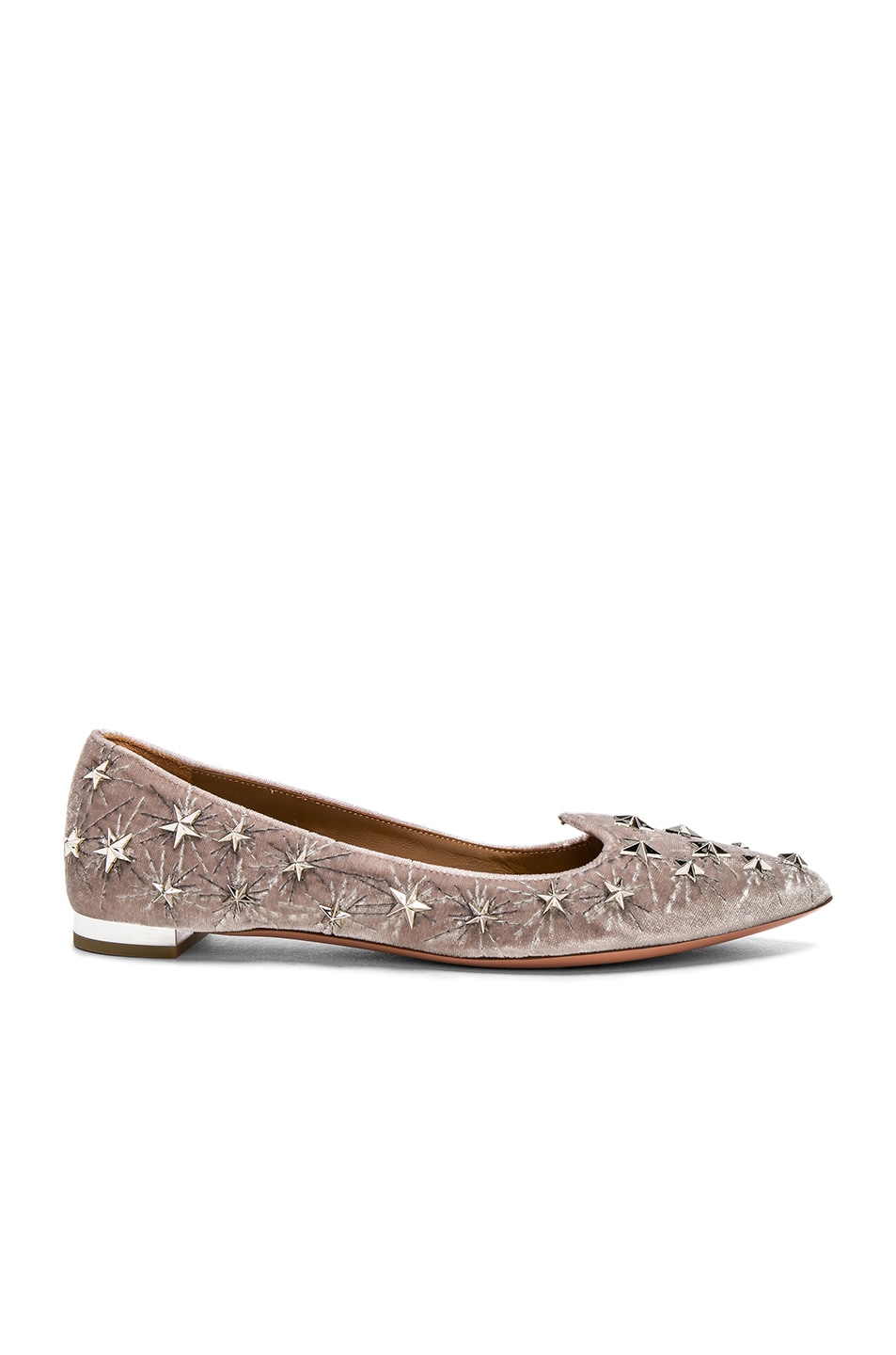 Image 1 of Aquazzura Velvet Cosmic Star Flats in Light Grey
