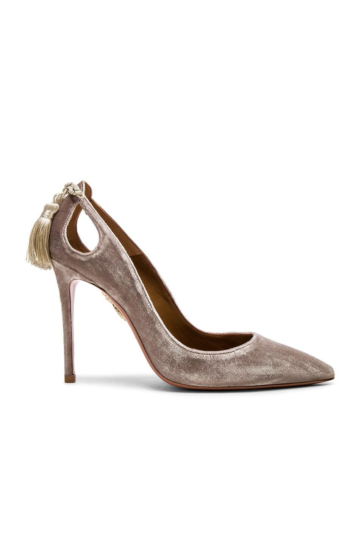 Image 1 of Aquazzura Velvet Forever Marilyn Heels in Light Grey