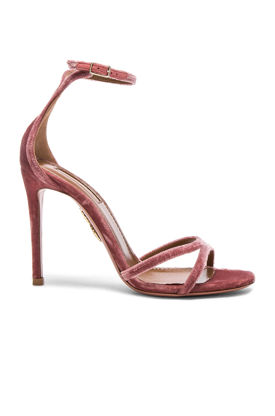 Image 1 of Aquazzura Velvet Purist Sandal Heels in Antique Rose