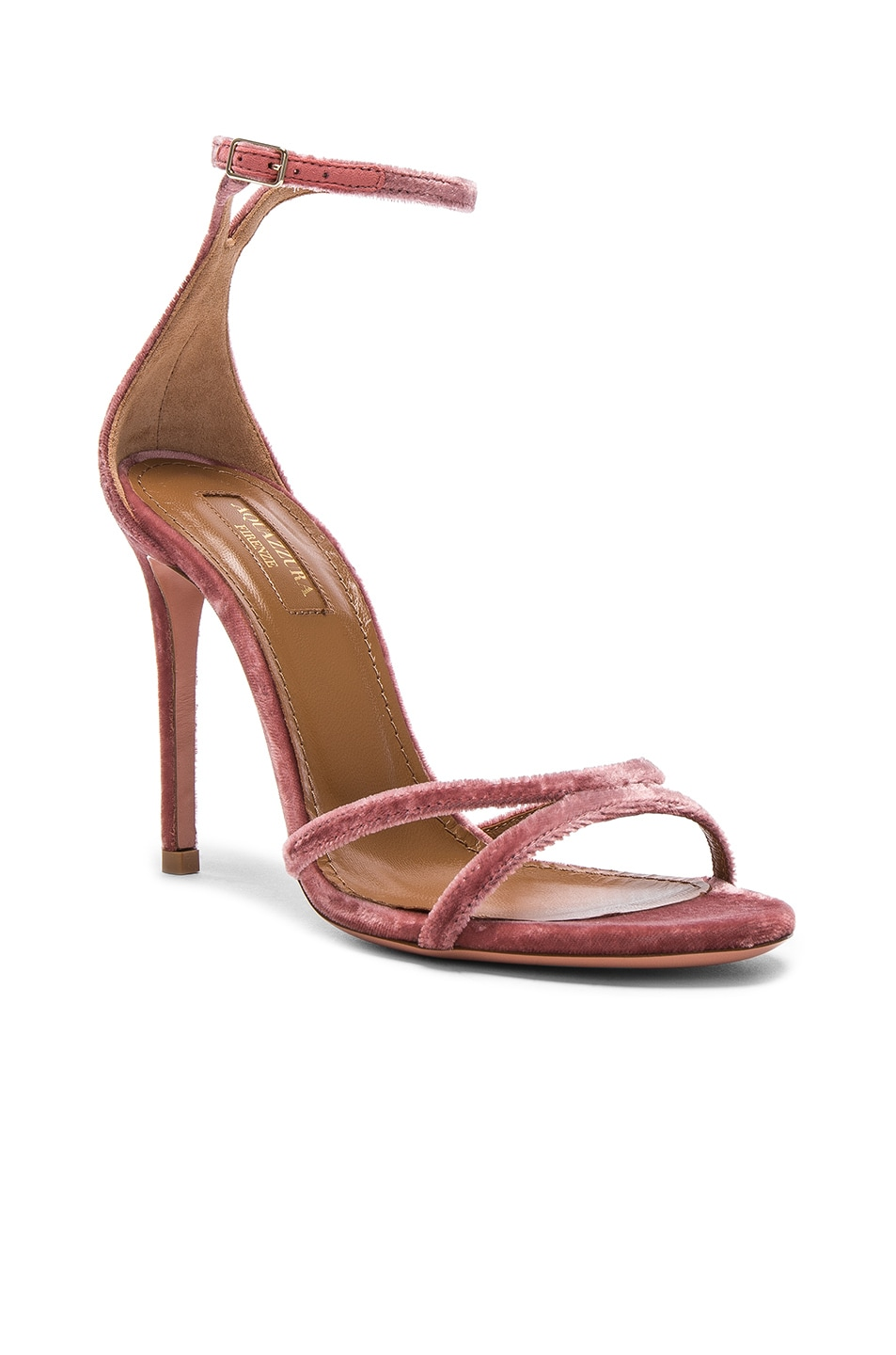 Image 2 of Aquazzura Velvet Purist Sandal Heels in Antique Rose