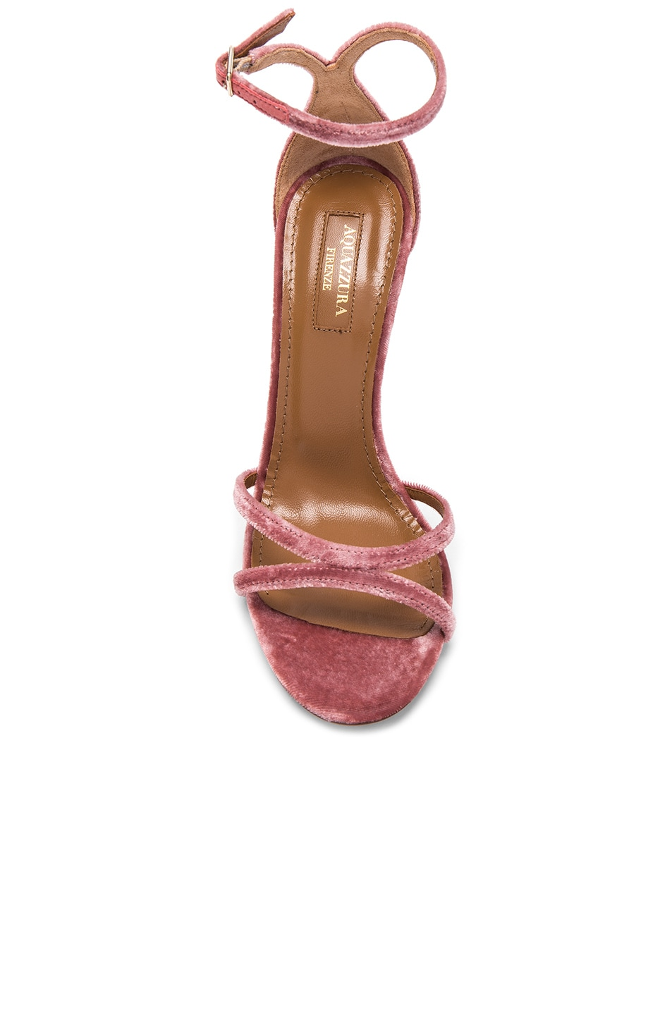 Image 4 of Aquazzura Velvet Purist Sandal Heels in Antique Rose