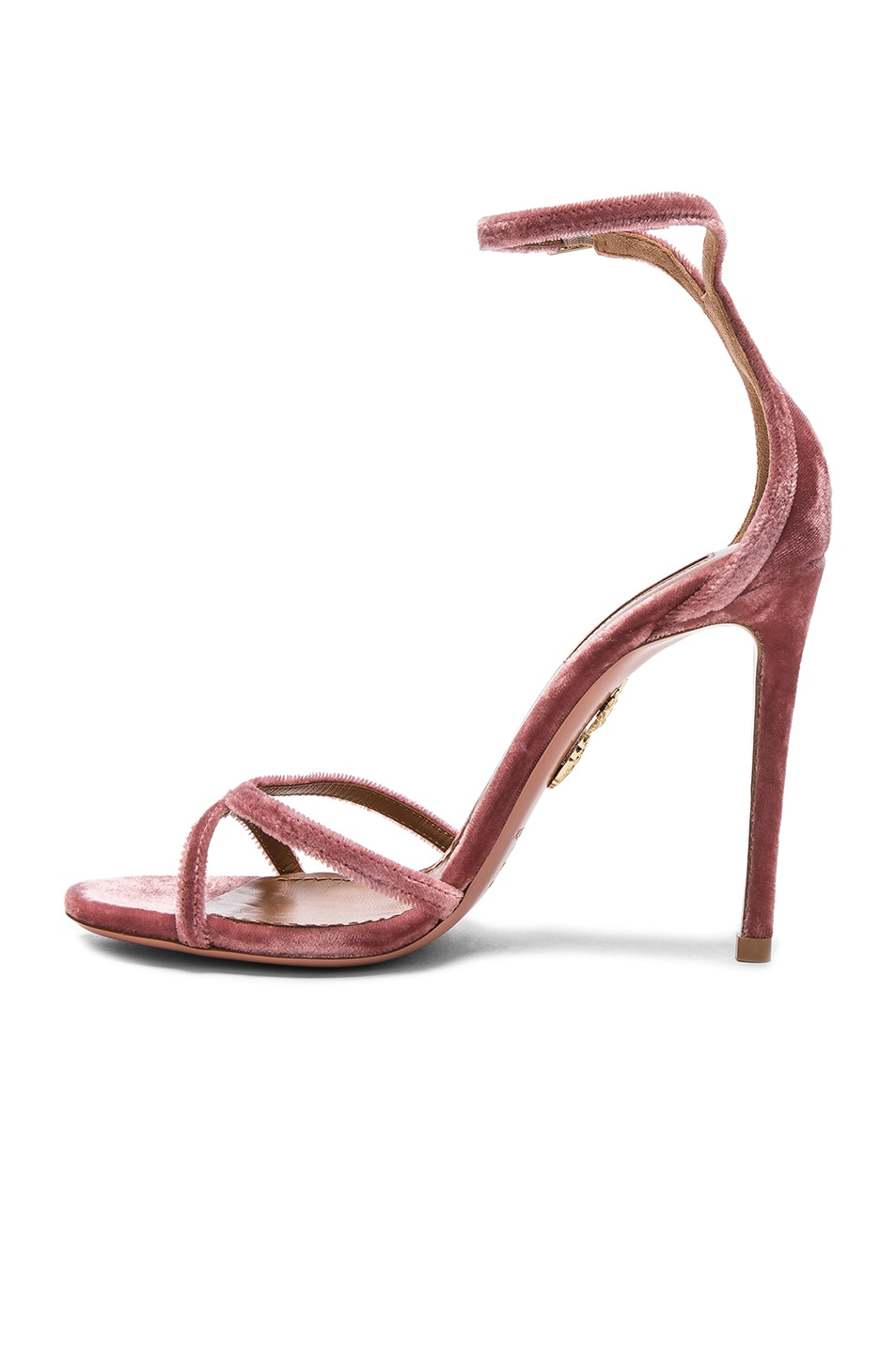 Image 5 of Aquazzura Velvet Purist Sandal Heels in Antique Rose