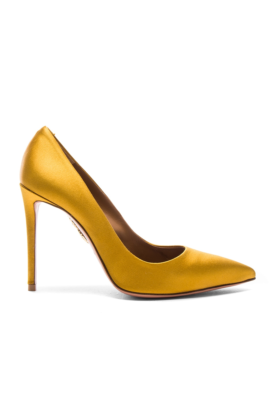 Image 1 of Aquazzura Satin Simply Irresistible Pumps in Amber Yellow Satin