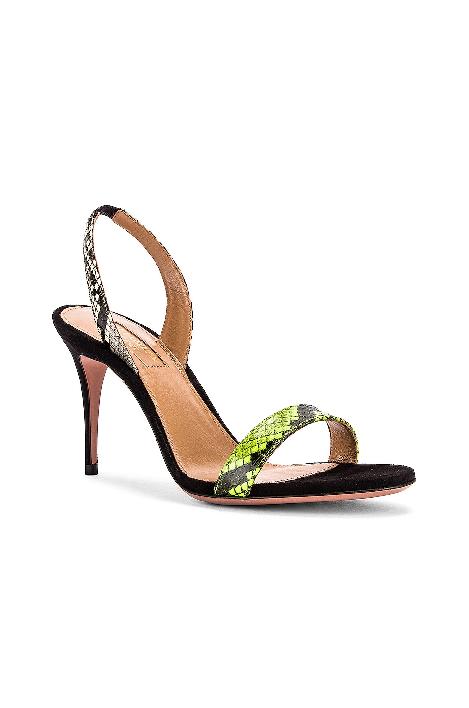 Image 2 of Aquazzura So Nude 85 Sandal in Acid Green, Shiny Roccia & Black