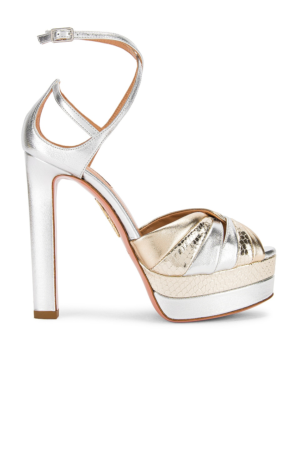 Image 1 of Aquazzura La Di Da Plateau 130 Sandal in Soft Gold & Silver