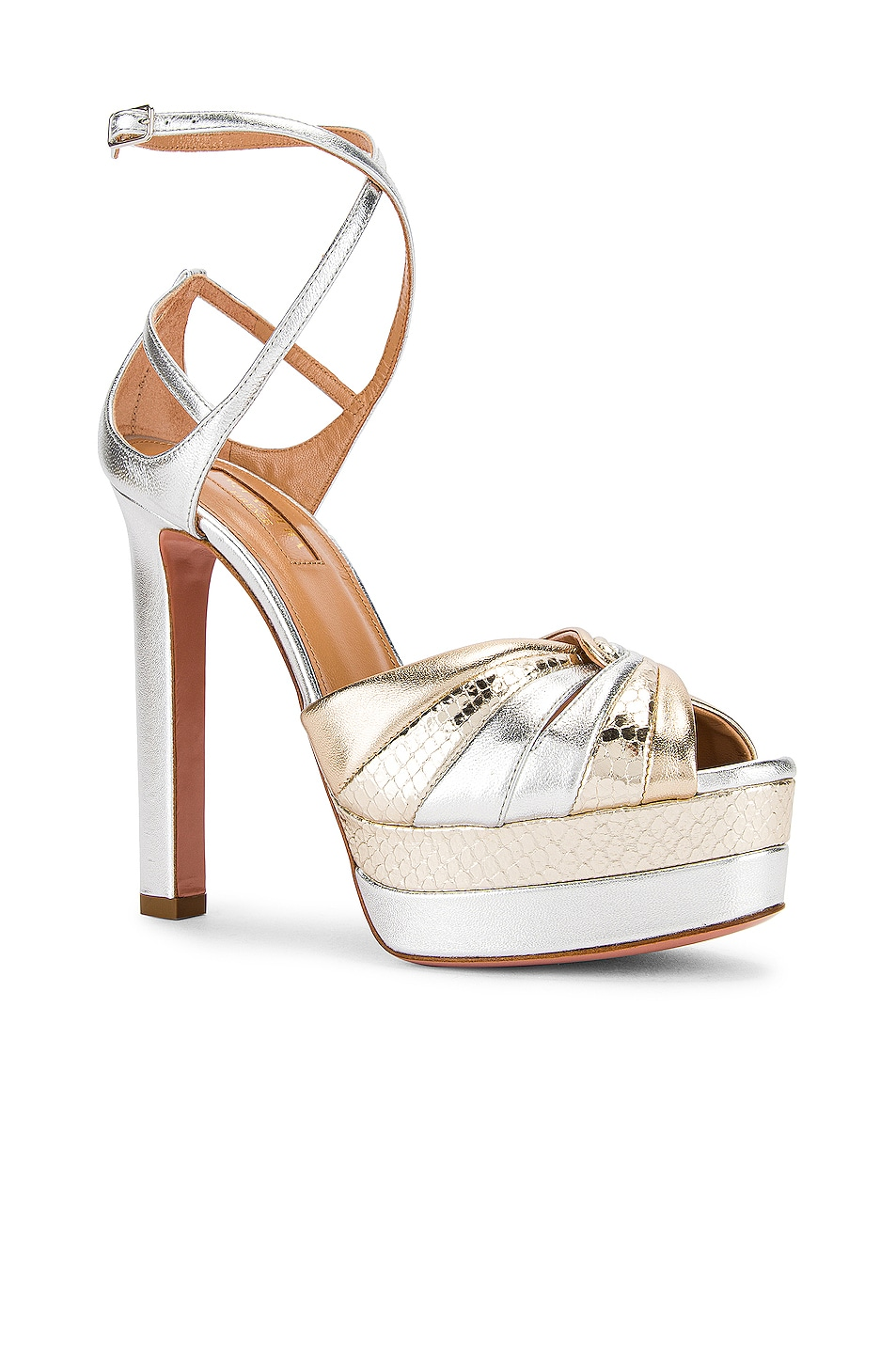 Image 2 of Aquazzura La Di Da Plateau 130 Sandal in Soft Gold & Silver