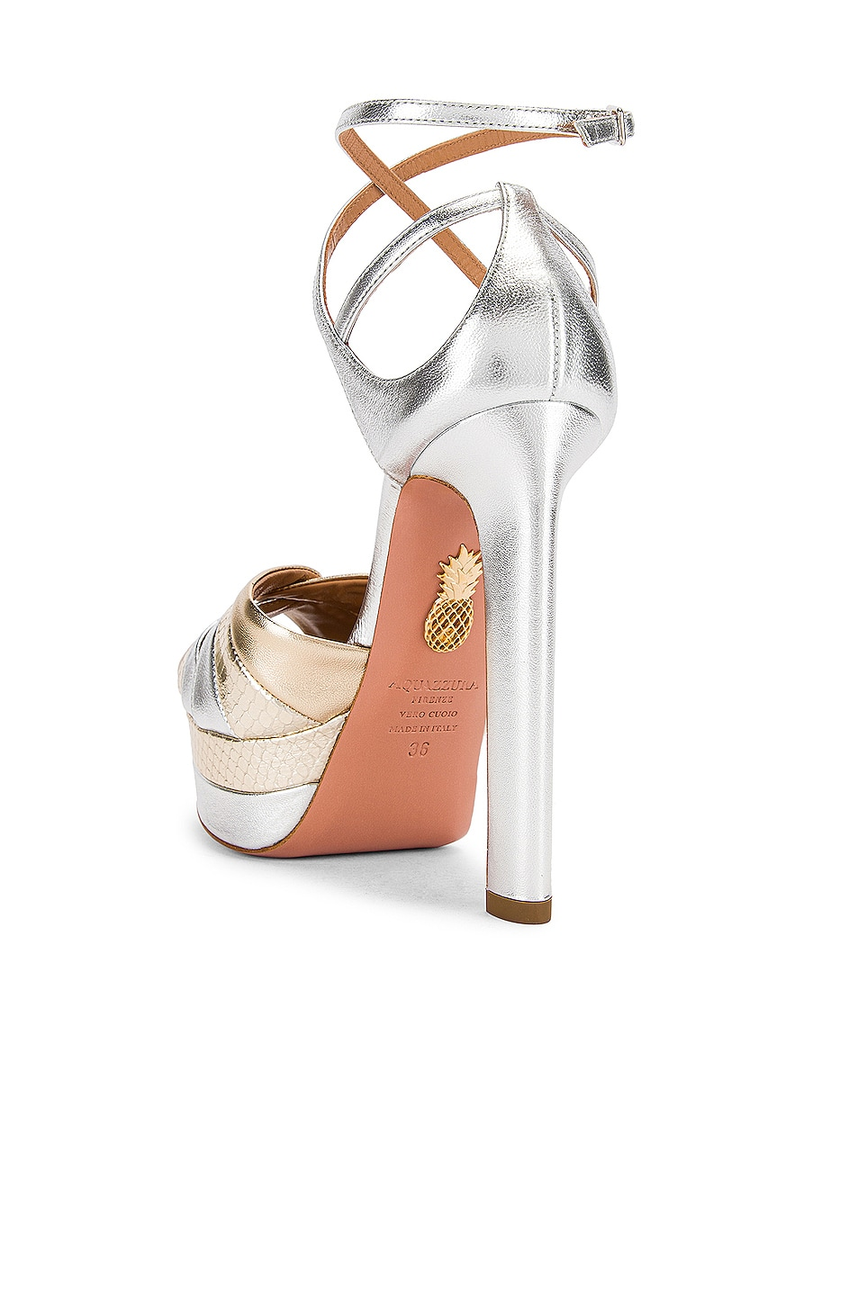 Image 3 of Aquazzura La Di Da Plateau 130 Sandal in Soft Gold & Silver