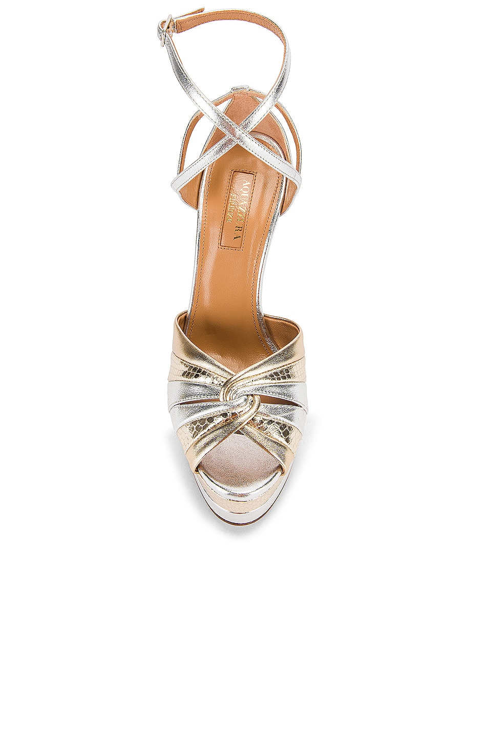Image 4 of Aquazzura La Di Da Plateau 130 Sandal in Soft Gold & Silver