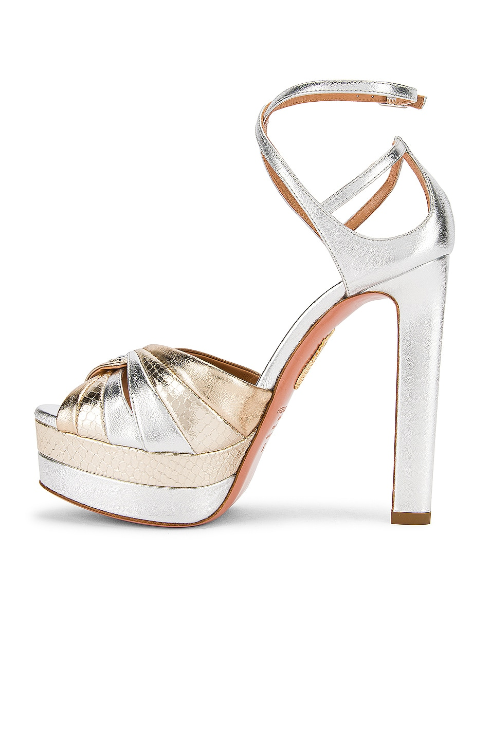 Image 5 of Aquazzura La Di Da Plateau 130 Sandal in Soft Gold & Silver