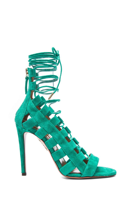 Image 1 of Aquazzura Amazon Suede Sandals in Emerald