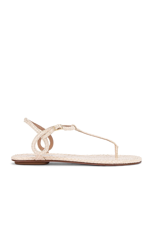 Image 1 of Aquazzura Almost Bare Snake Print Sandal Flat in Cream