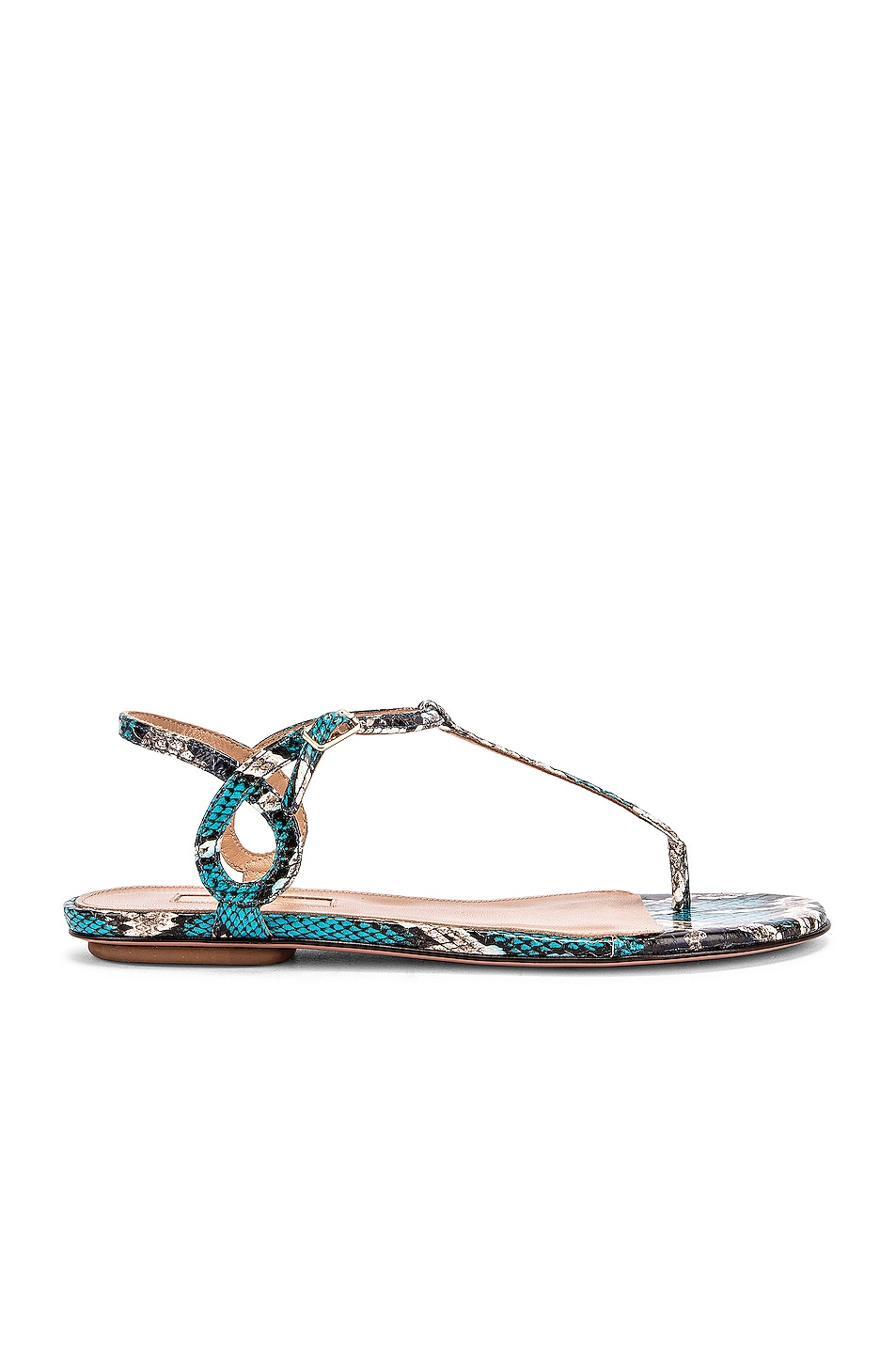 Image 1 of Aquazzura Almost Bare Jungle Snake Sandal Flat in Mix Blue