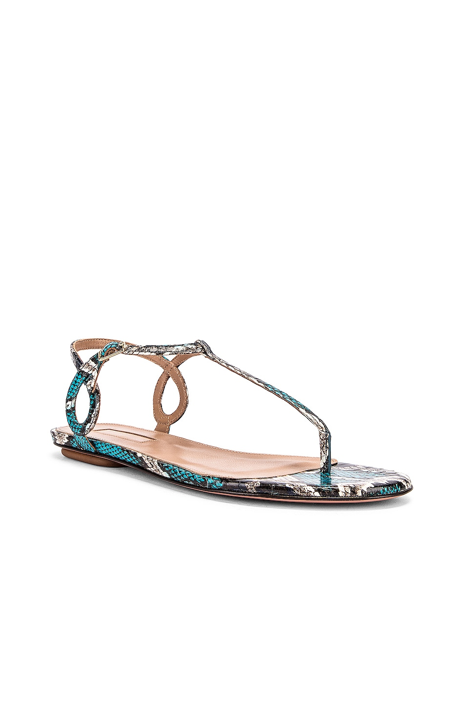 Image 2 of Aquazzura Almost Bare Jungle Snake Sandal Flat in Mix Blue