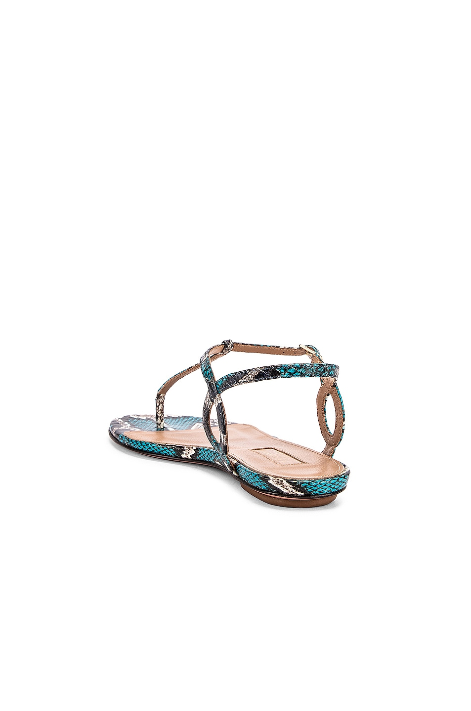 Image 3 of Aquazzura Almost Bare Jungle Snake Sandal Flat in Mix Blue