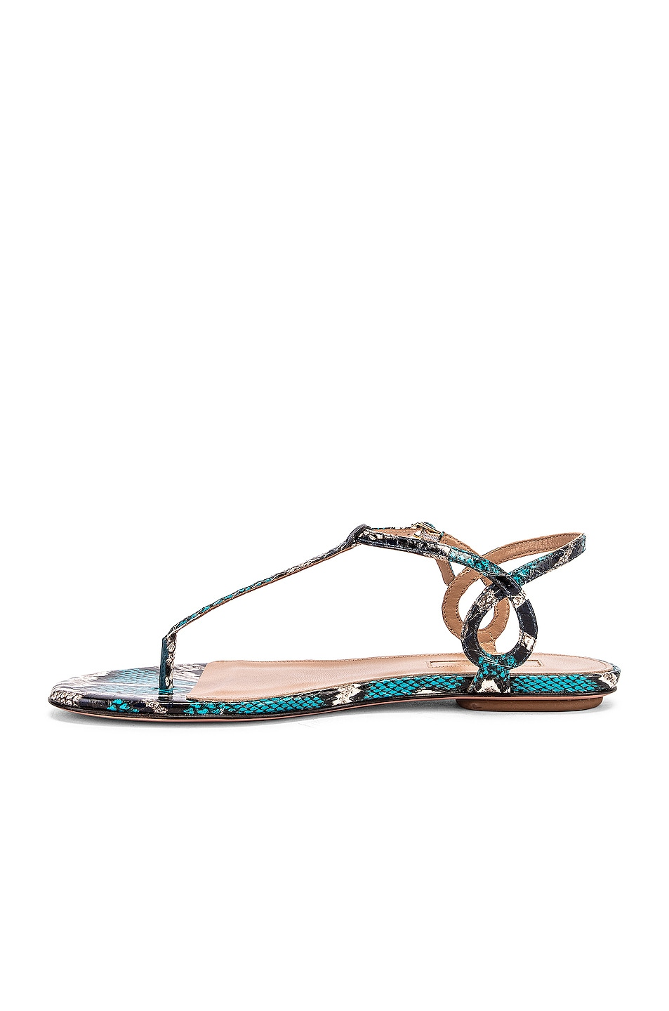 Image 5 of Aquazzura Almost Bare Jungle Snake Sandal Flat in Mix Blue