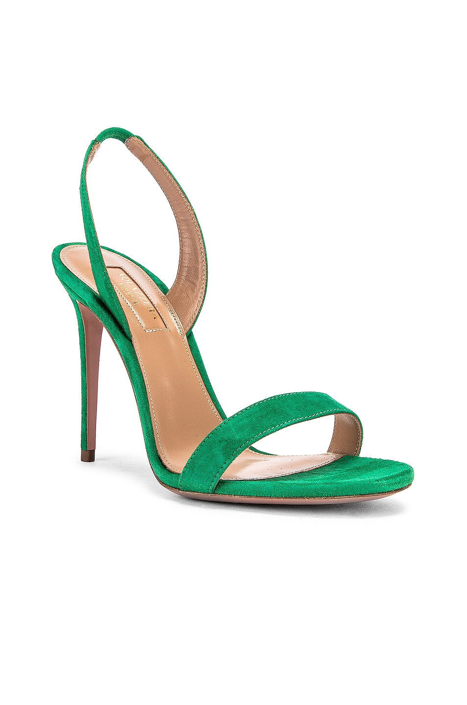 Image 2 of Aquazzura So Nude Suede 105 Sandal in Jungle Green
