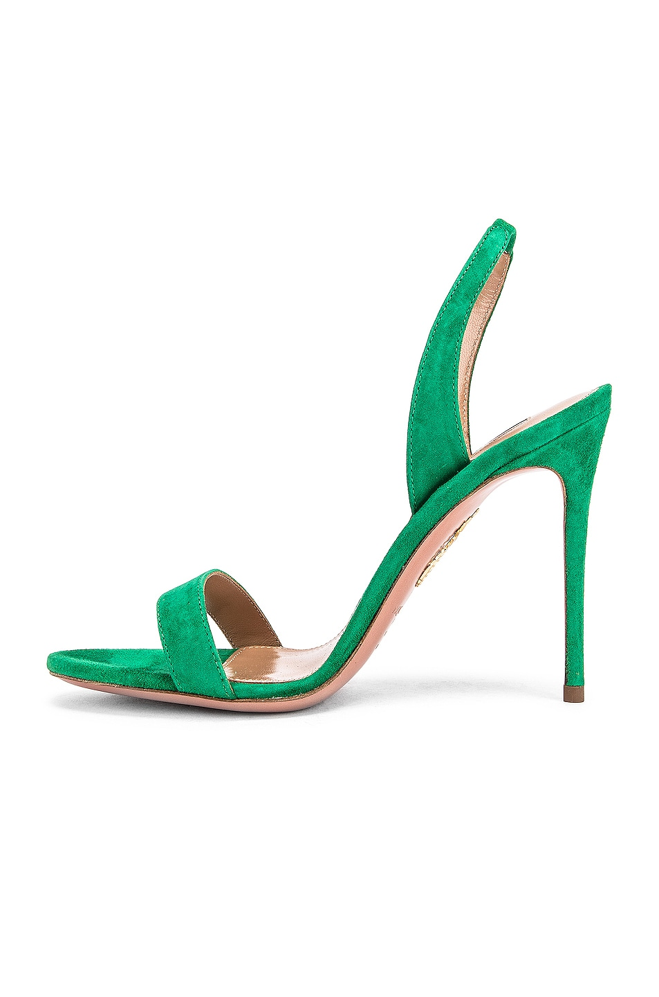 Image 5 of Aquazzura So Nude Suede 105 Sandal in Jungle Green