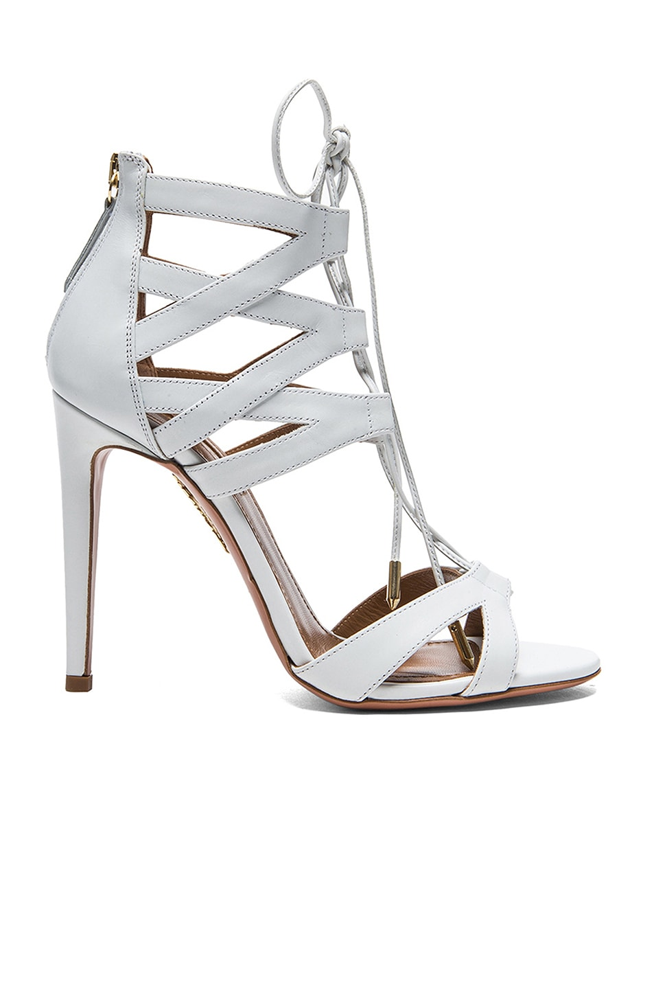 Image 1 of Aquazzura Beverly Hills Calfskin Leather Sandals in White
