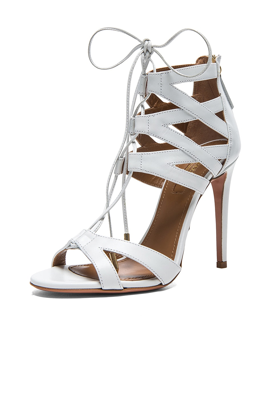 Image 2 of Aquazzura Beverly Hills Calfskin Leather Sandals in White
