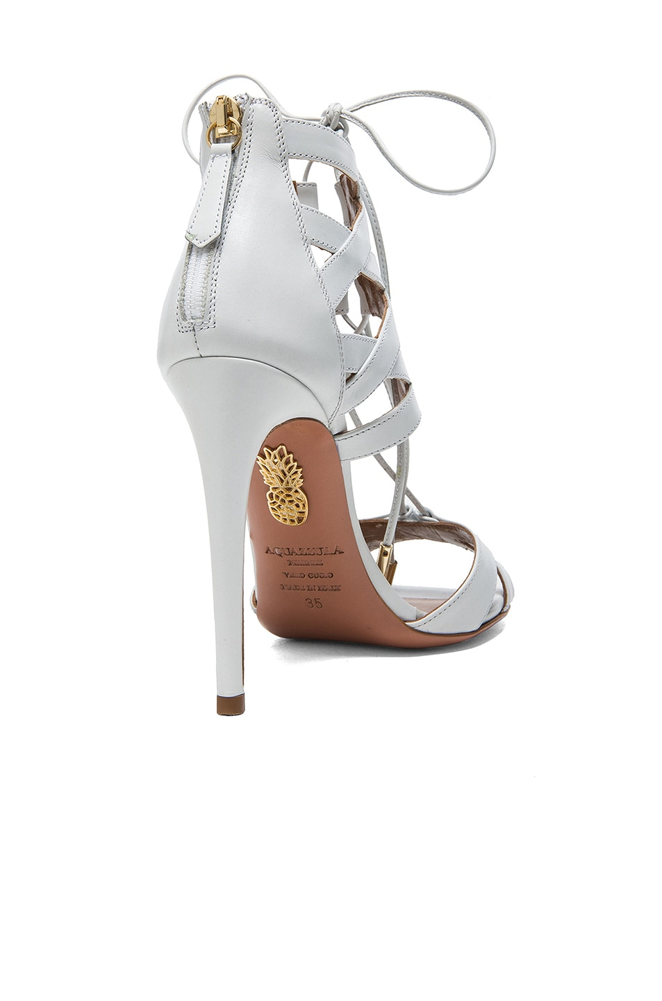 Image 3 of Aquazzura Beverly Hills Calfskin Leather Sandals in White