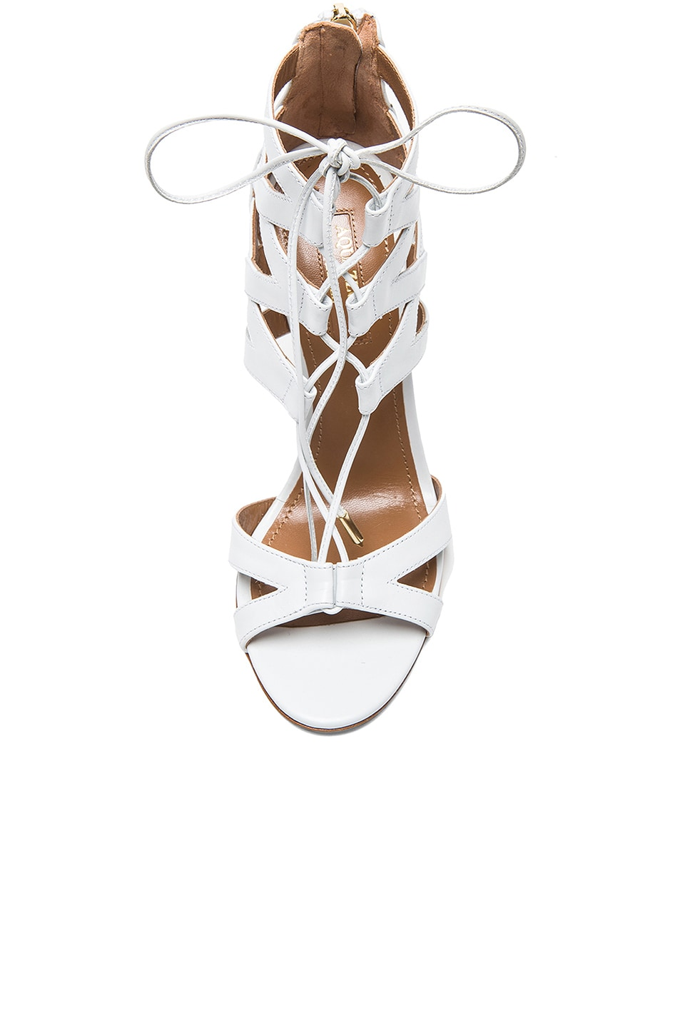 Image 4 of Aquazzura Beverly Hills Calfskin Leather Sandals in White