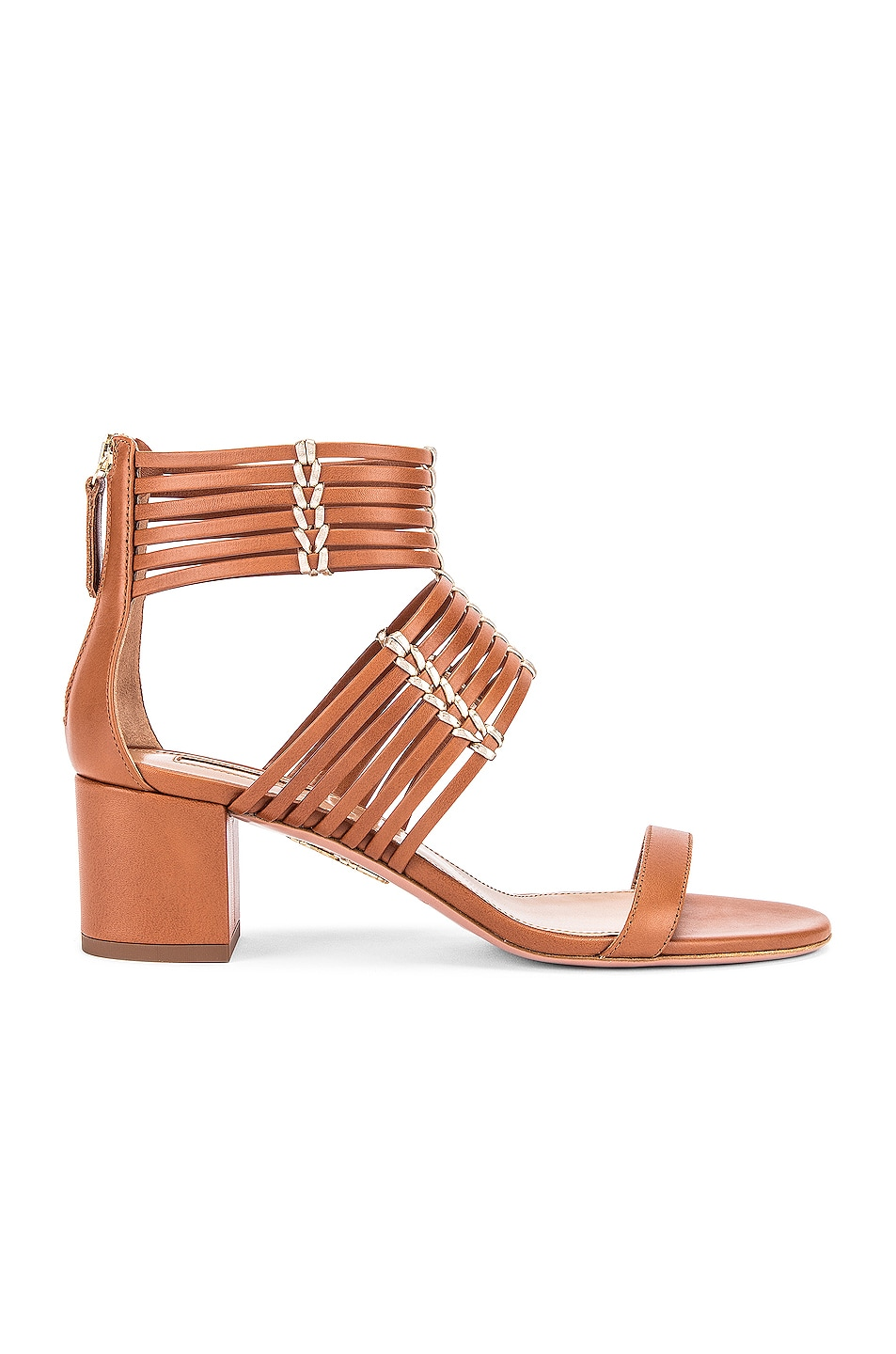 Image 1 of Aquazzura Ravello 50 Sandal in Safari & Soft Gold