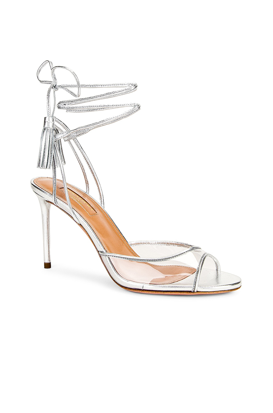 Image 1 of Aquazzura Nudist 85 Sandal in Silver