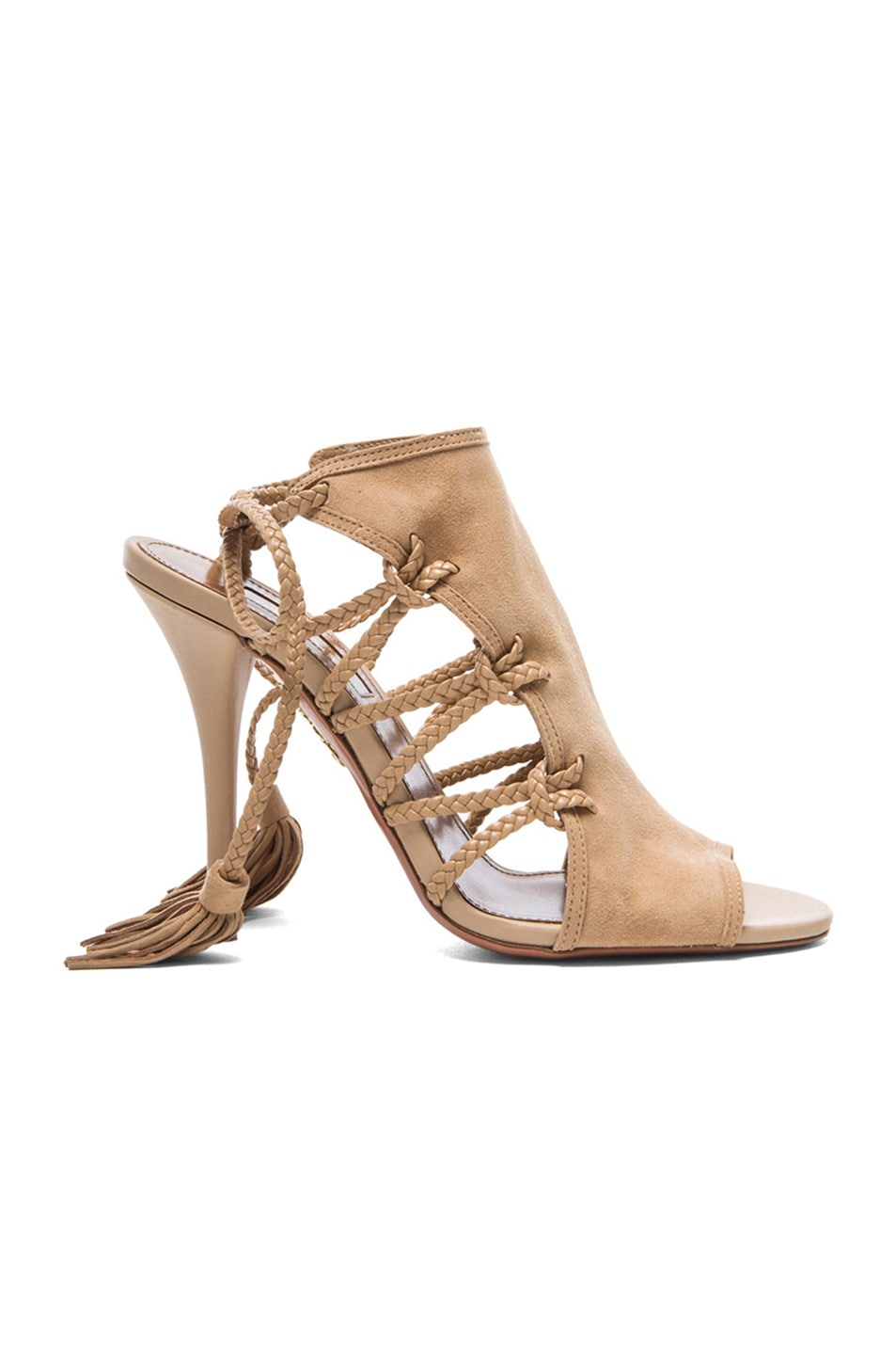 Image 1 of Aquazzura Sahara Suede Heels in Nude
