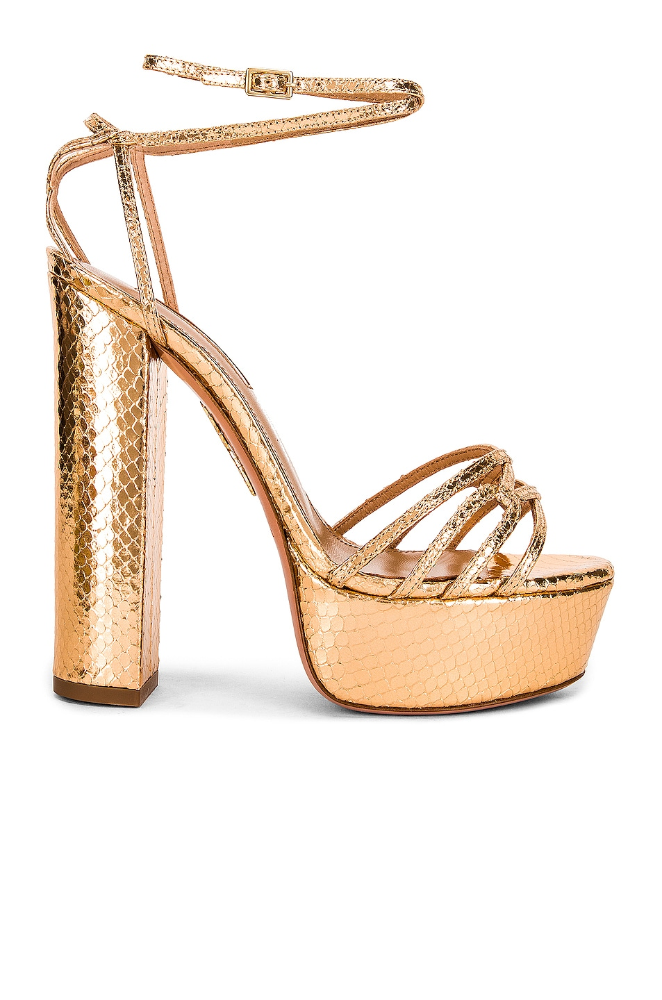 Image 1 of Aquazzura First Kiss 140 Plateau Sandal in Gold