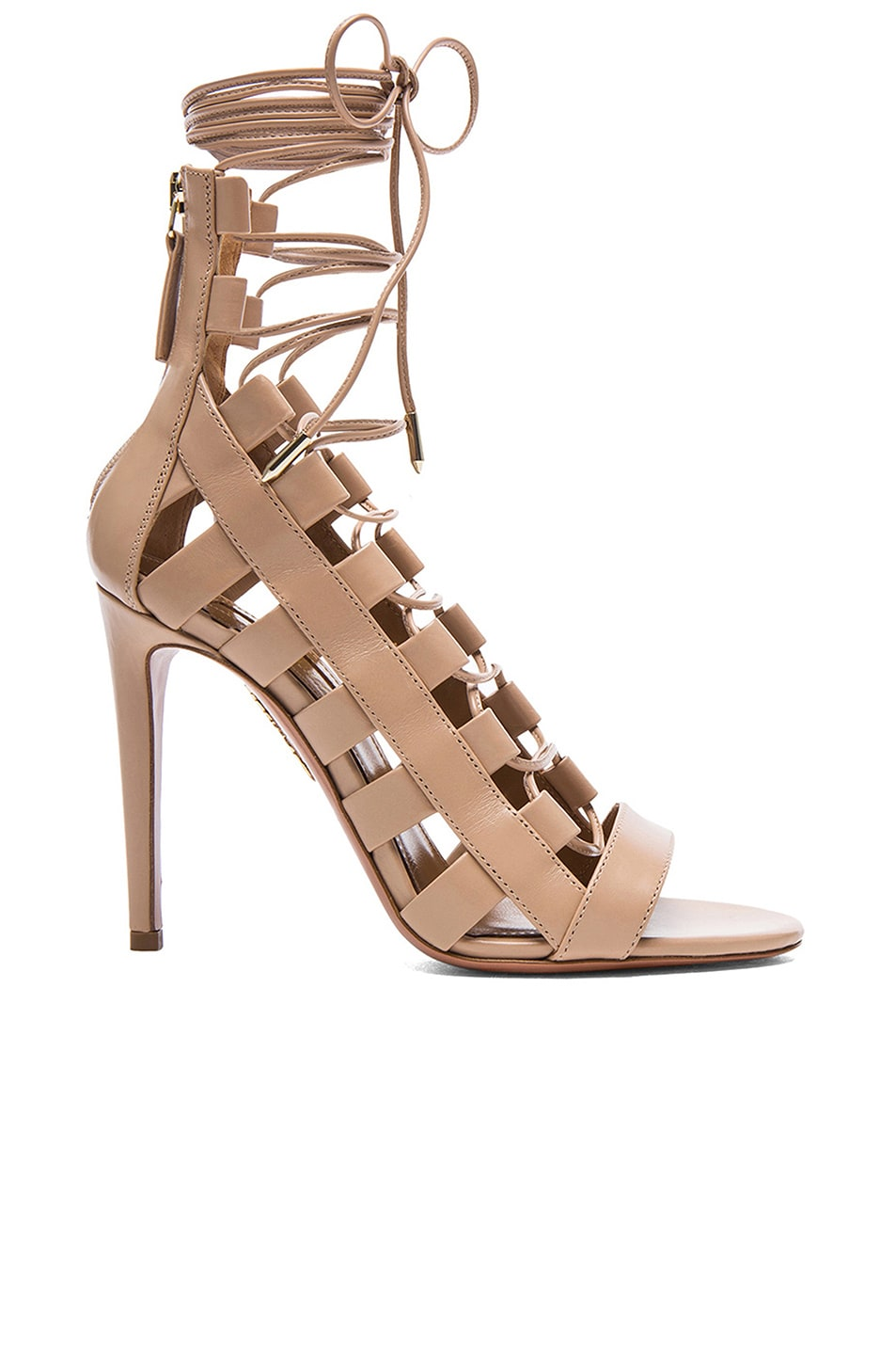 4748e1755d7 Image 1 of Aquazzura Amazon Leather Heels in Nude
