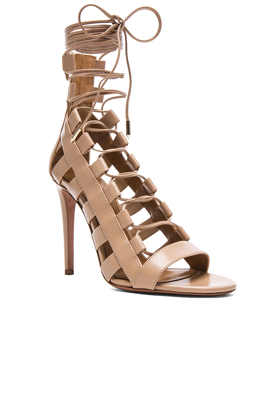 78f398a2fbd Image 2 of Aquazzura Amazon Leather Heels in Nude