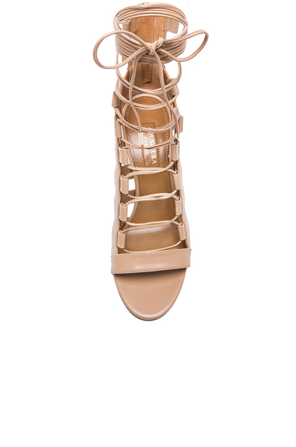 b3b73160b362d Image 4 of Aquazzura Amazon Leather Heels in Nude