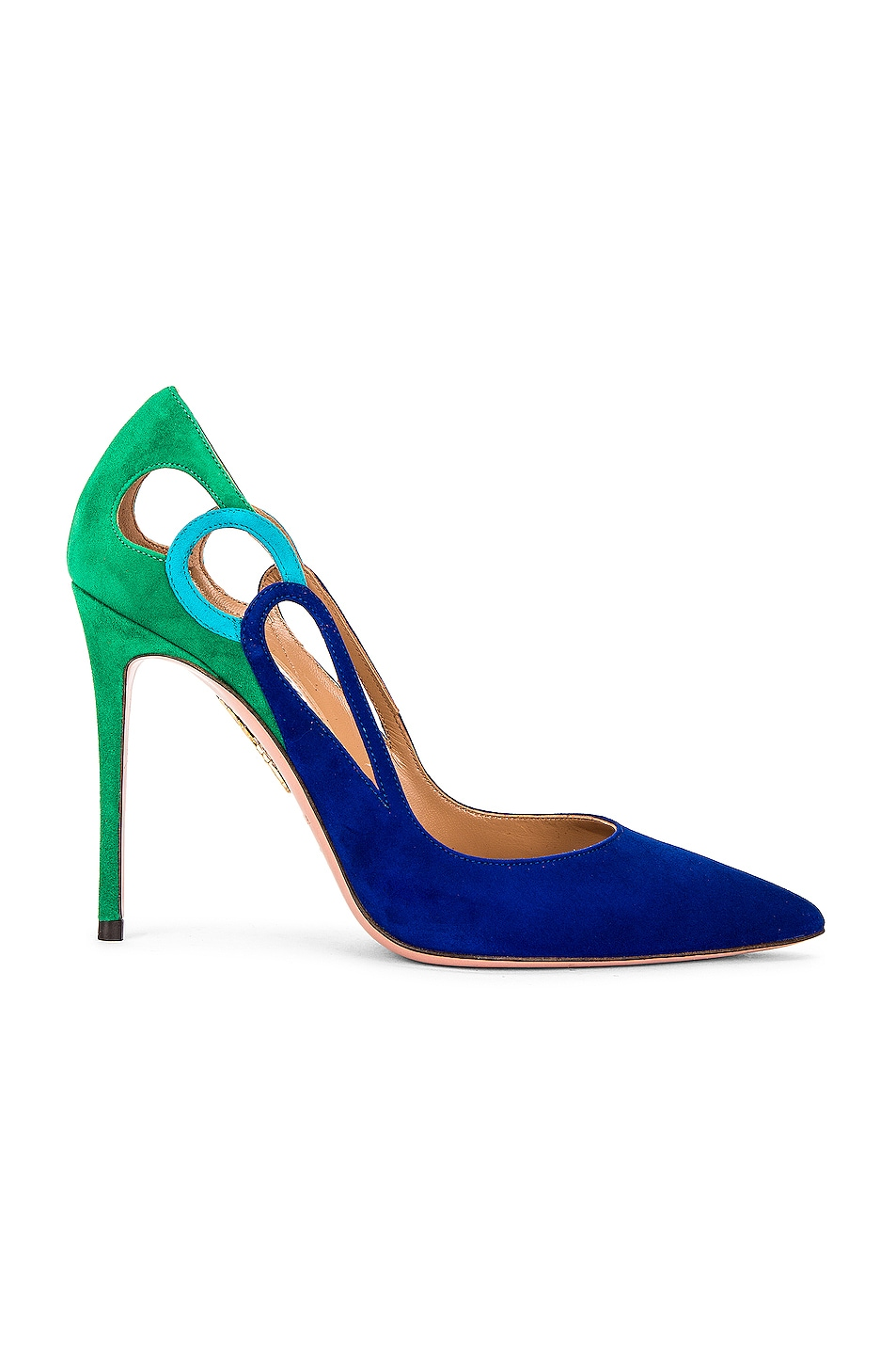 Image 1 of Aquazzura Fenix 105 Pump in Lapis Blue, Lagoon Blue & Rich Emerald