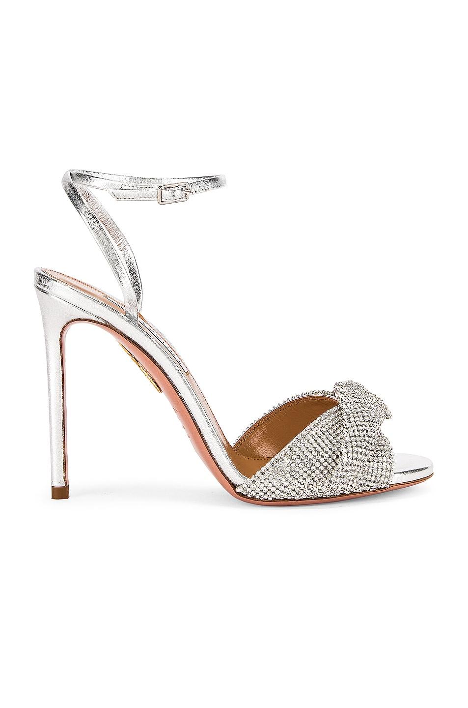 Image 1 of Aquazzura Crystal Twist 105 Sandal in Silver